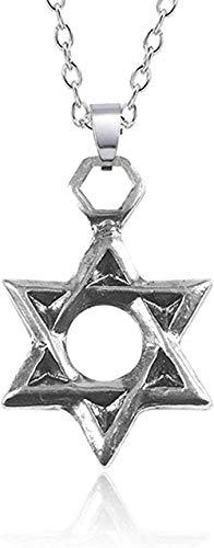 ZGYFJCH Co.,ltd Collar Punk Religioso Hexagrama Collar de Acero Inoxidable para Hombres Mujeres Unisex Símbolo hindú Collares Pendientes Joyería de la Estrella de David
