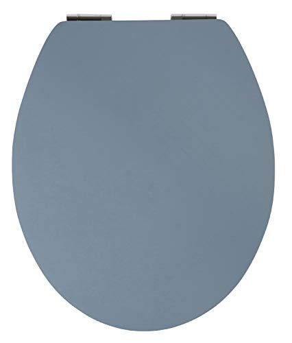 SITZPLATZ® WC-Sitz mit Absenkautomatik, Dekor Trend Blau, Soft Touch, Toilettensitz mit Holzkern, Fast-Fix Schnellbefestigung, Metall-Scharniere, WC-Deckel, ovale Standard O Form universal, 40732 8