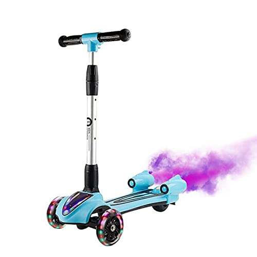 Huachaoxiang Scooter De Scooter De Triciclo Niños De 2 Años - Luces LED, Diseño Plegable, Asas Ajustables Música Dinámica En Aerosol,Azul