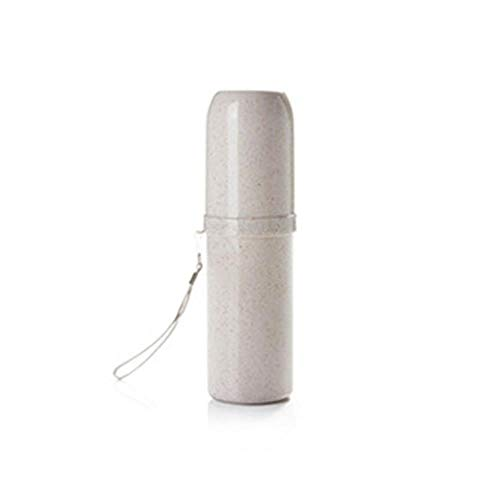 LLAAIT Badkamer Tool Draagbare Tandenborstel Cup Tandpasta Houder Cups Dual Gebruik Tandmok Eco-vriendelijke Tarwe Straw Reisbenodigdheden 1 PC,Beige