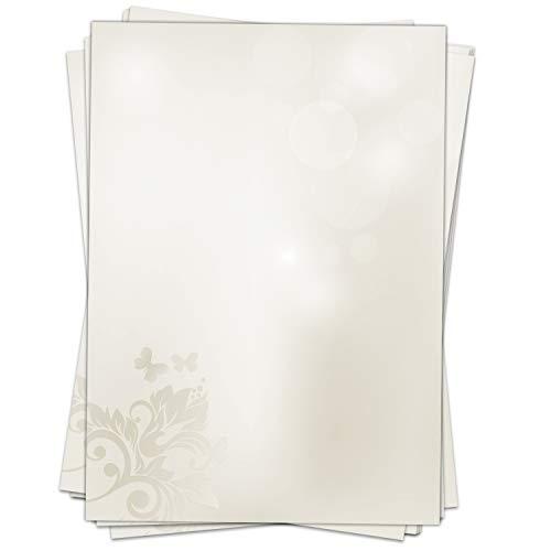 50 Blatt Briefpapier Motiv Edles Grau/beidseitig bedruckt/DIN A4 90 g Papier/Hochzeit/Einladung/Urkunde