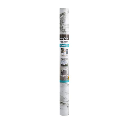 Duck Brand Peel & Stick Adhesive Laminate - White Marble, 20 in. x 15 ft.