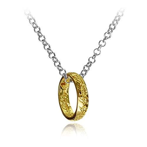 SHOYY Parejas Ciudad de Hueso Collar de la aleación Runas Amistad Colgante for los Hombres y Las Mujeres Collar de Parejas (Metal Color : Gold)