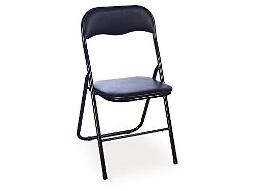 Sellon24/Signal 6er Set Klappstühle Metall Schwarz Kunstleder Faltstuhl Klappstuhl Tipo, 6 Stühle
