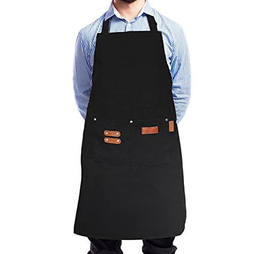 Gelrova Kochschürze Küchenschürze Küchenschürze mit Taschen, Grill, Gartenarbeit, Geschenken, Backschürzen, Restaurantschürze mit verstellbarem Halsgürtel und Taschen zum Kochen