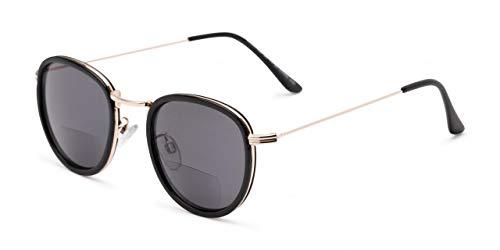 Bifokale Lesesonnenbrille Rund Schwarz Gold Leichte Brille Gestönt UV400 Herren Damen Hard Case Tuch 2,50