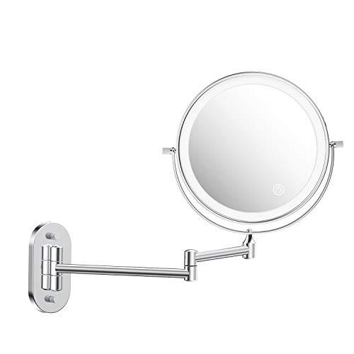 alvorog Kosmetikspiegel LED Beleuchtet mit 1x/5x Fache Vergrößerung USB/Batterien Touchscreen Rasierspiegel Wandspiegel 360°Schwenkbar Schminkspiegel für Badezimmer
