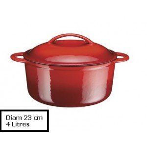 A.K TRADING Fonte COCOTTE B Ronde Rouge 23 CM 4 L Code 0748