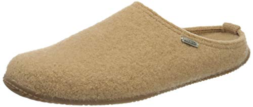 Living Kitzbühel Unisex Pantoffel unifarben mit Fußbett Hausschuh, Camel, 47 EU