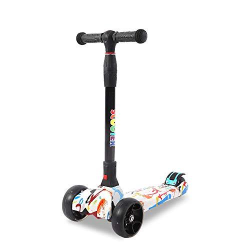 FAN Patineta de Tres Ruedas para niños De 3 a 14 años de Edad Un Solo Clic Plegado Aumentar Versión Equilibrio Scooter Flash Wheel, B