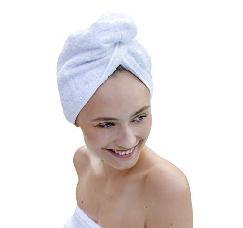 Carenesse Haarturban weiß, 100{3795087071607aea2723c8583dc795b55ea942e53da8824d679c0618cdaebb7e} saugstarke Baumwolle, Aufsetzen – Einwickeln - Festknöpfen - Stabiler Halt, Kopf Handtuch, Haar-Turban, Haar Turban, Kopfhandtuch, Haartrockentuch, Handtuch für Haare