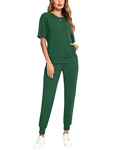 Irevial Conjunto Chandal Mujer Verano Casual Conjunto de Camiseta de Manga Corta y Pantalones con Cordón y Bolsillo Ropa Deportiva 2 Piezas para Fitness Yoga Verde, XL