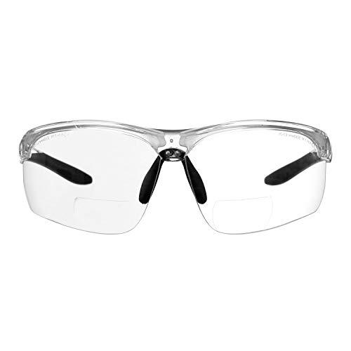 Gafas bifocales de Seguridad para Lectura voltX 'Constructor Ultimate' (Montura Transparente, Lentes Transparentes Dioptría +1.0) CE EN166FT - Bifocales Ciclismo Deportivo - UV400 🔥