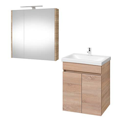 Planetmöbel Waschtisch + Spiegelschrank Badmöbel Set 64cm für Badezimmer WC (Sonoma Eiche)
