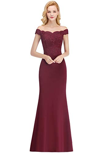 MisShow Damen Hochwertig Spitzen Hochzeitskleid Standesamt Kleid Chiffon Brautkleid Rückenfrei lang Burgundy 36