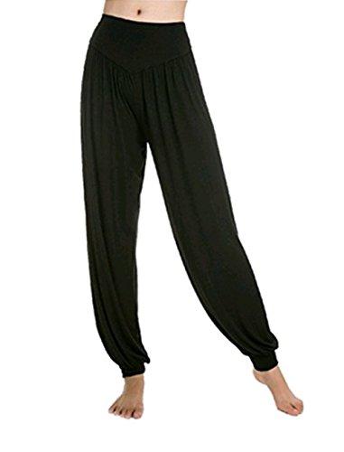 Leisial Pantalones de Yoga Algodón Suave Piernas Pantalones Anchos Sólido Color Elástico Pretina Pantalones Bombachos de Fitness Bailan Deportivo para Mujeres,Negro
