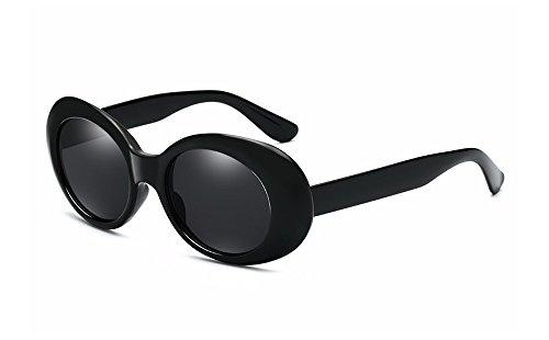 BOZEVON Retro Ovale Sonnenbrille - UV400 Schutzbrillen für Damen & Herren Schwarz-Schwarz C4