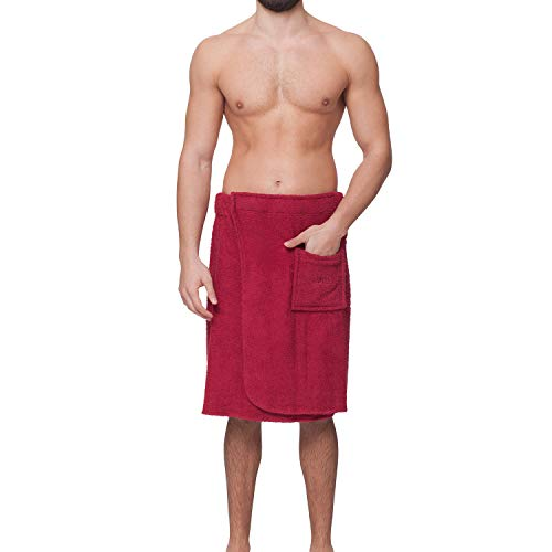 OAHOO Herren Saunakilt/Badehandtuch - Einstellbarer breiter Klettverschluss mit Gummizug - aufgesetzte Tasche - 100% Baumwolle Frottee, Jester Red, L / XL