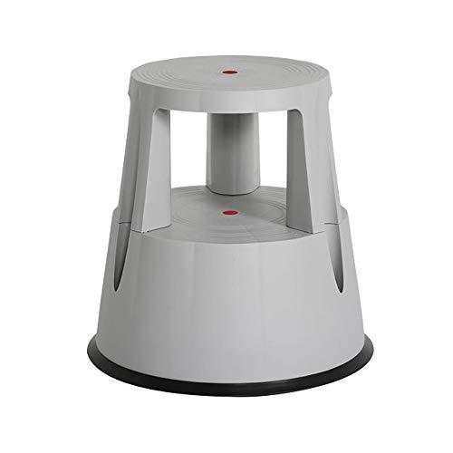 SIR Visual Sgabello con Ruote a Scomparsa - 2 Scalini, con Base Antiscivolo in Gomma - capacità di carico 150 kg, in 4 Colori (Grigio)