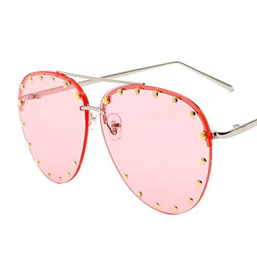 Yiph-Sunglass Occhiali da Sole Moda Occhiali da Sole in Metallo HD Occhiali da Sole alla Moda con Borchie Accessori (Color : C)