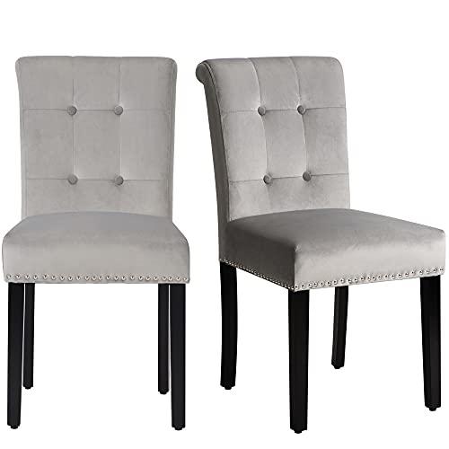 Esszimmerstühle 2er Set, Küchenstuhl mit Eiche Bein, Polsterstuhl Wohnzimmerstuhl mit Rückenlehne