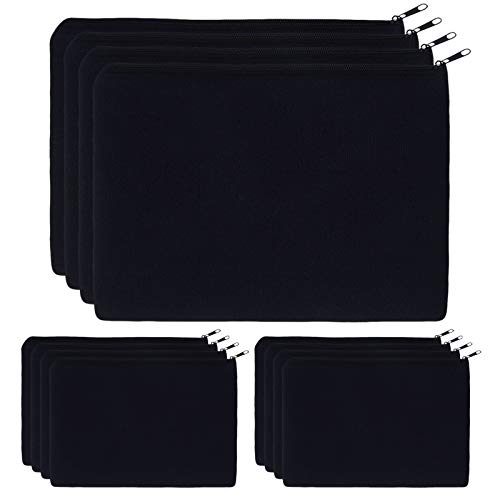 Canvas Pouch Bulk 12 Pcs KOOLMOX 9 x 7 inch Makeup Bags Cosmetic Bags for Teens Girls Plain Pencil Bag Blank Black Canvas Bag with Zipper for Vinyl Print DIY Crafts Gift Personalized Decorate