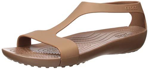 Crocs Serena Sandal Women, Sandalias de Punta Descubierta para Mujer, Dorado (Bronze 854), 42/43 EU
