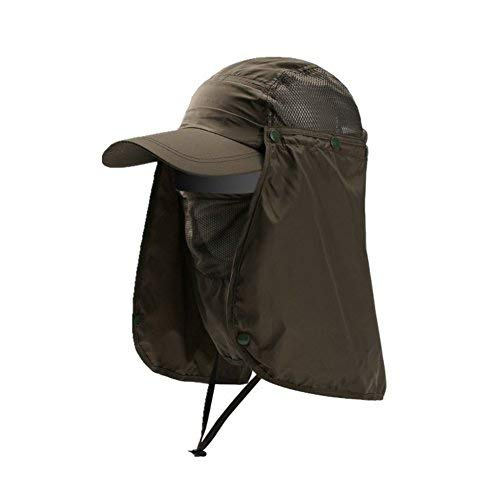 Hommes Chapeau de pêche Amovible casquette visière pliable large bord Protection 360°Protège-nuque chapeau pour cyclisme camping randonnée chasse escalade UPF 50+ Anti-UV Séchage Rapide Respirant