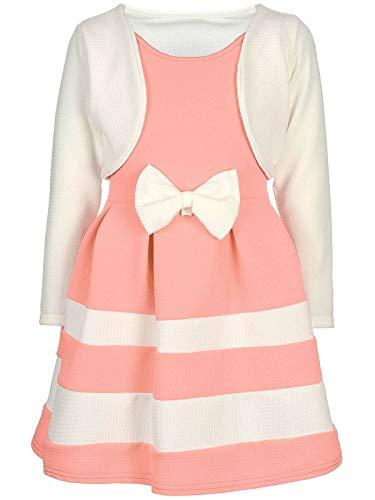 BEZLIT Mädchen-Kleid Kinder-Kleider Spitze Winter-Kleid Fest-Kleid Lang-Arm Kostüm 30003 Weiß-Lachs 116