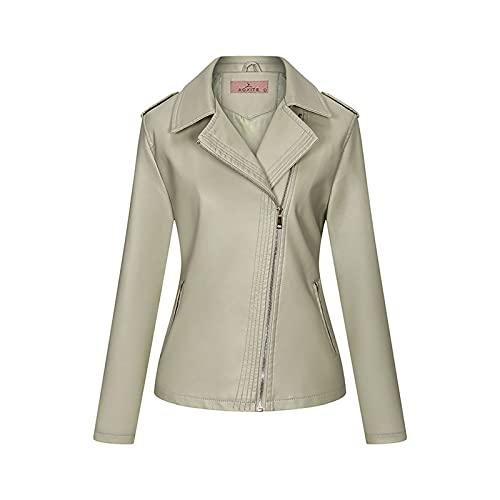 TDEOK Chaqueta de mujer estilo punk con cremallera lateral, chaqueta de invierno corta para mujer, chaqueta de manga larga con bolsillo con cremallera, verde menta, M