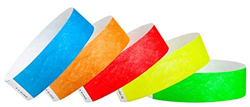 """WristCo Variety Pack 3/4"""" Tyvek Wristbands - Red, Orange, Yellow, Green, Blue - 500 Pack Paper Wristbands for Events"""