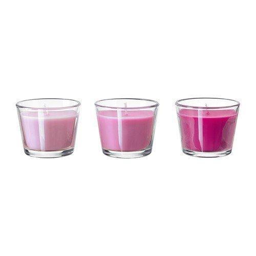 Unbekannt IKEA Duftkerze im Glas BRÄCKA Set 3 Stück in 4 Farben und Duftnoten (rosa)