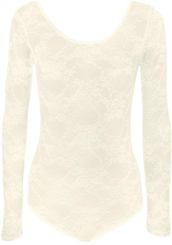 WearAll - Damen Spitze Blumen Elastisch Stretch Langarm Body Gymnastikanzug Top - Crème - 36-38