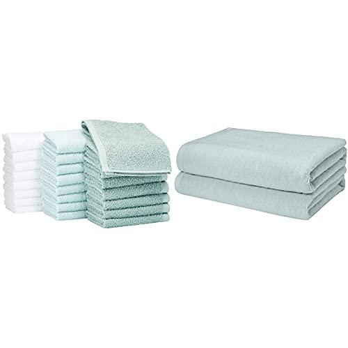 Amazon Basics - Juego de 2 toallas de baño de secado rápido, extra absorbentes, algodón de rizo, color verde y azul hielo, color blanco