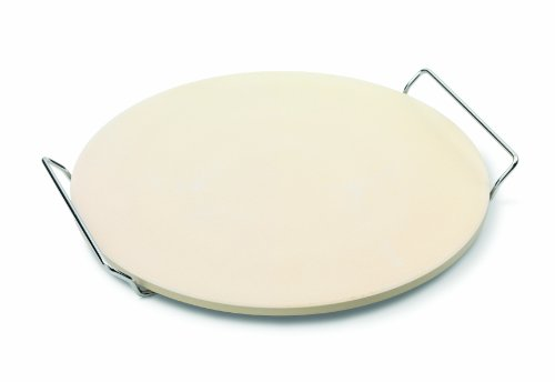 JAMIE OLIVER Pizza Stone and Serving Rack  Round Earthenware Clay  14 inch