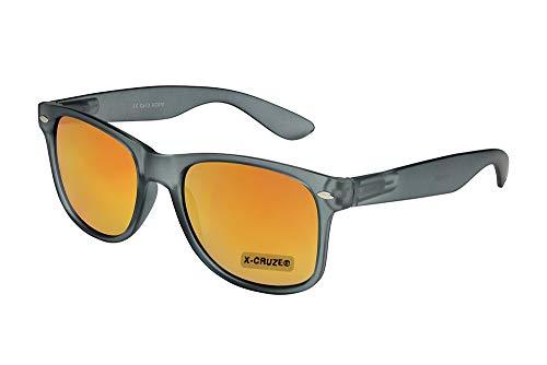 X-CRUZE 8-111 - Gafas de sol nerd retro vintage unisex hombre mujer gafas nerd - gris-transparente mate y rojo-naranja espejado