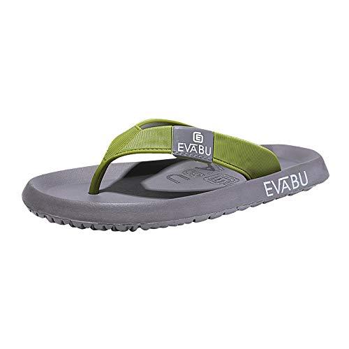 MYSdd Chanclas de Verano para Hombre Nuevas Sandalias de Playa Antideslizantes Transpirables de Talla Grande Zapatillas de Punta con Clip - Verde oscuro44
