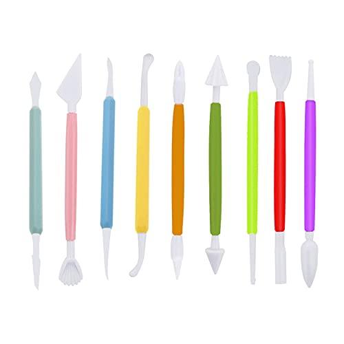 SDENSHI 9X Herramientas de Escultura de Arcilla Plástica Cerámica Fondant Azúcar Artesanía Modelado Tallado