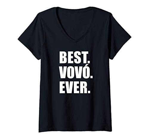 Womens Best Vovo Ever Portuguese Grandmother V-Neck T-Shirt