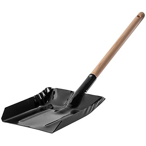 KADAX Aschenschaufel aus Metall, Kohlenschaufel mit Griff aus Holz, kleine Kehrschaufel, Kehrblech, Kohlenlöffel, Ofenschaufel, Kaminschaufel (Groß)