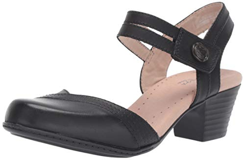 Clarks womens Valarie Rally Heeled Sandal, Black Leather, 8.5 US