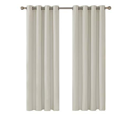 Deconovo Cortinas Salon Dormitorio Moderno Blackout Curtain Suave para Ventanas de Habitación Infantil con Ojales 2 Piezas 132 x 214 cm Beige Claro