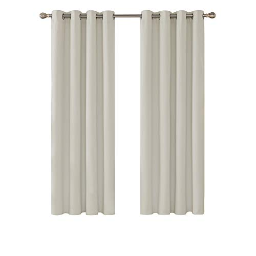 Deconovo Super Soft Solid Thermal Insulated Eyelet Blackout Curtains for Living room 55x69 Inch Two Panels Light Beige