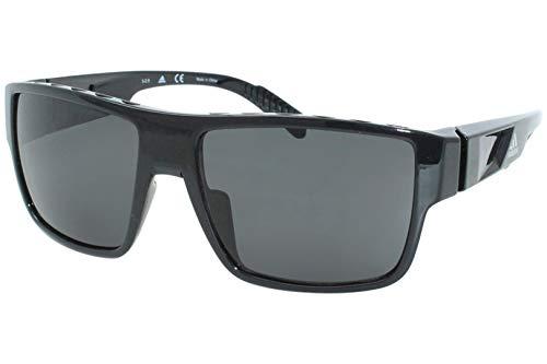 Adidas SP0006 01A Sunglasses Men's Shiny Black/Smoke Lenses Rectangular 57mm