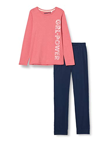 Sanetta Mädchen Schlafanzug lang rosa Pyjamaset, Rose, 140