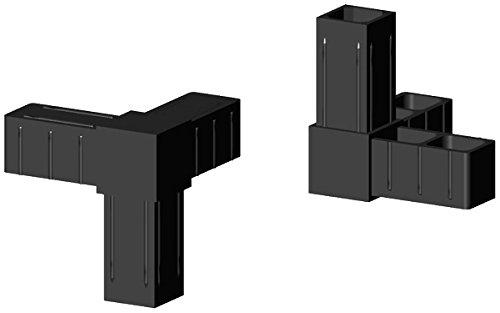 Winkel mit Abgang - Eckverbinder Kunststoff schwarz - Glasfaserverstärkt - für 20x20x1,5mm Aluminiumprofil Steckverbinder für Aluminiumprofile