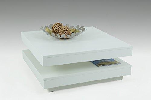 Funktionscouchtisch Ben, Dekor Weiß, 360° drehbar, 78 x 78 x 34 cm