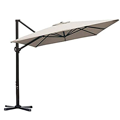 Abba Patio 8 x 10ft Offset Patio Umbrella Rectangular Cantilever Outdoor Hanging Umbrella with Crank & Easy Tilt & Cross Base for Garden, Deck, Backyard, Pool, Sand