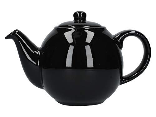 London Pottery 20185 Globe Petite théière avec passoire, céramique, noir brillant, capacité 2 tasses (500 ml)