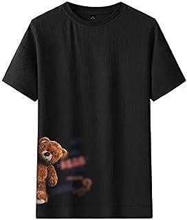 Wanxiaoyyyinnsdx Mens Henley Short Sleeve, Summer Men's T-shirt Bear Print Short Sleeve T-shirt Shirt Fashion Size M-3XL M...